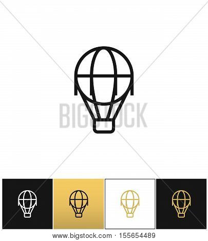 Hot air balloon line vector icon. Hot air balloon line pictograph on black, white and gold background