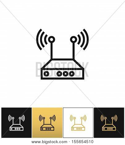 Internet network wireless router vector icon. Internet network wireless router pictograph on black, white and gold background
