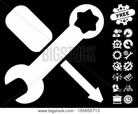 Tools pictograph with bonus settings pictograph collection. Vector illustration style is flat iconic white symbols on black background.