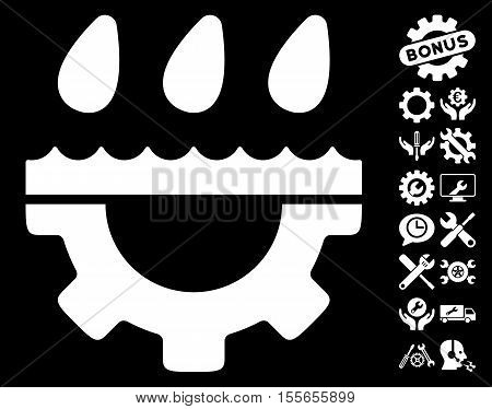 Water Gear Drops icon with bonus tools pictures. Vector illustration style is flat iconic white symbols on black background.