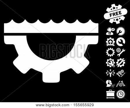 Water Service Gear pictograph with bonus options graphic icons. Vector illustration style is flat iconic white symbols on black background.