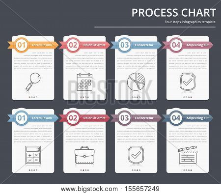 Process chart, flow chart template, infographics design elements with numbers and text, business infographics, workflow, steps, options, vector eps10 illustration