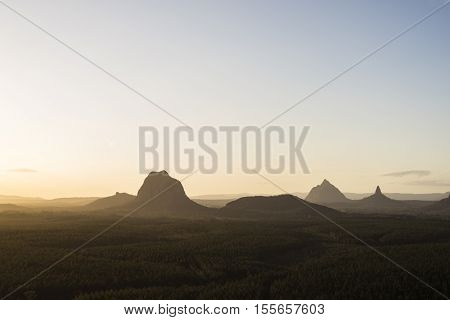 Sunset over the Glasshouse Mountains, Sunshine Coast, Queensland, Australia