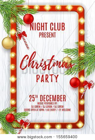 Merry Christmas party flyer. Elegant vector illustration with red and golden toys. Beautiful background with candy canes and shining lamps. Design of invitation to night club.