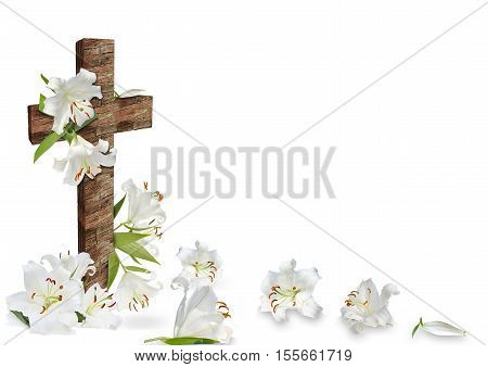 White Lily And Christian Cross