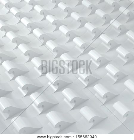 3d illustration. Three-dimensional white pattern based on the repetition of the waveform. Architectural abstract background.