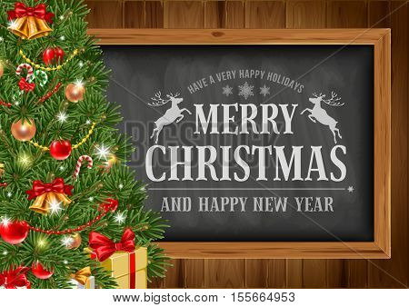 Christmas background with chalkboard in wooden frame with painted holiday typography and decorated fir tree. Vector stock illustration.