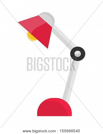 Red table lamp icon in flat. Desk lamp icon. Reading lamp icon. Design element for home and office interior. Isolated object on white background. Vector illustration.