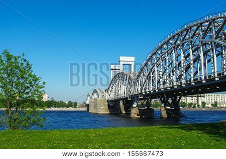 the Finland Railway Bridge at sunny day St. Petersburg Russia