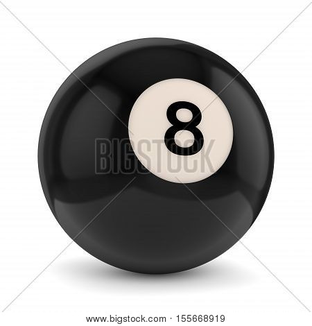 Black pool game ball with number 8 isolated on white background. 3D illustration