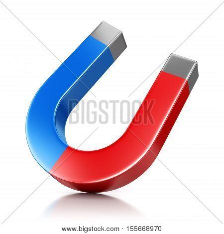 Metal horseshoe shaped magnet isolated on white background. 3D illustration