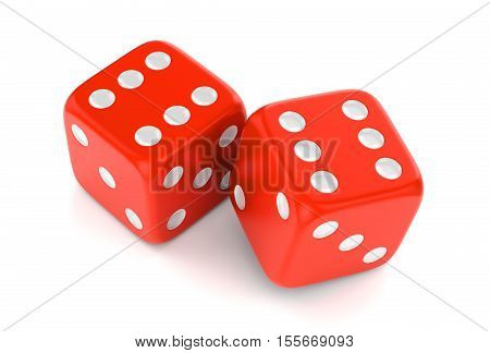Winning combination of dices isolated on white background. Gambling card game casino and luck concept. 3D illustration