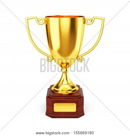 Golden trophy cup isolated on white background. 1st place award goblet. 3D illustration