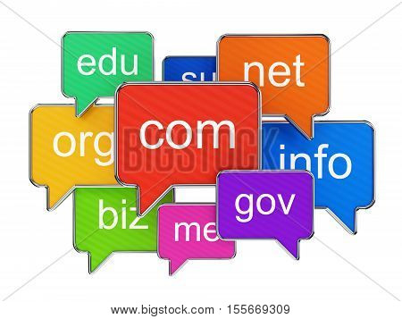 Group of colorful speech bubbles with domain names isolated on white. Global communication business internet technology and web hosting concept. 3D illustration