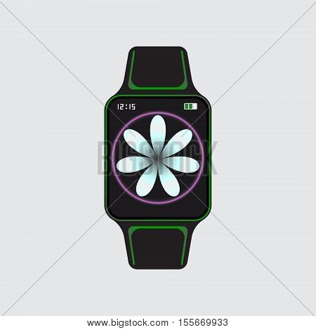 Black smart watch with white flower decor. Smart watch vector logo. Isolated smart watch sign. Smart watch vector illustration. Art smart watch.