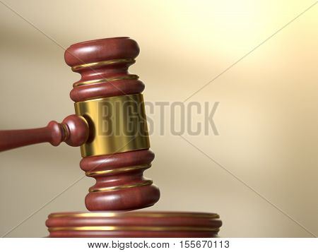 Wooden judge gavel with stand on defocused courtroom background. Law justice and auction concept. 3D illustration