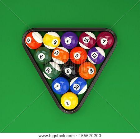 Pool Balls Pyramid On Green Cloth
