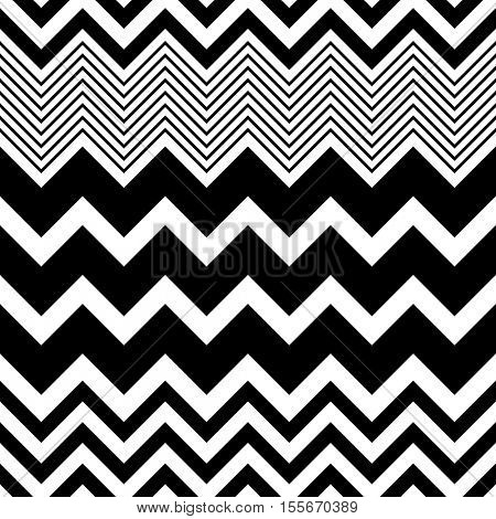 Seamless Zigzag Pattern. Abstract Black and White Stripe and Line Background. Vector Regular Zig Zag Geometric Texture. Minimal Print Design. Decorative Fashion Ornament