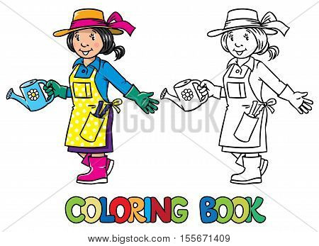 Coloring picture or coloring book of funny gardener. Woman in gloves, hat and watering can tending the flowers in the garden. Profession series. Childrens vector illustration.