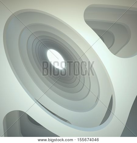3d illustration. Three-dimensional white composition based on extruded oval hole in perspective. Architectural background, render