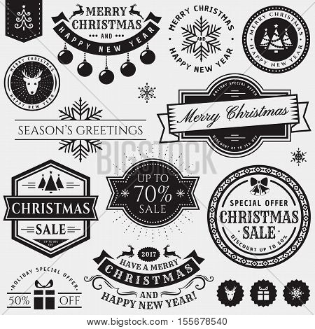 Christmas and New Year decorative elements isolated on white background. Set of typography badges for greeting cards sale labels page and web decoration or other holiday design. Vector illustration.