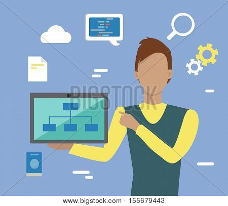 Web design, SEO infographic concept. Man in yellow blue sweater with laptop on blue background with communication and design pictograms. Website development project, SEO process information