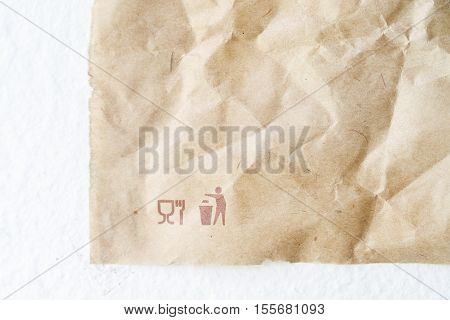 Surface Of Crease Crumpled Paper Sheet Background In Usage.