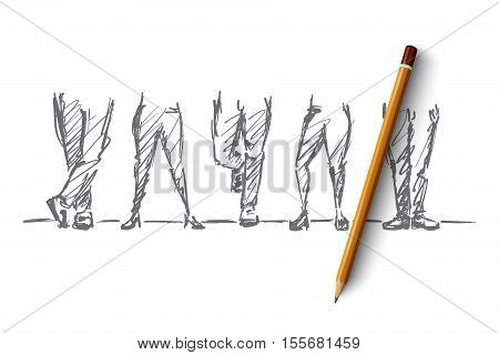 Vector hand drawn leg concept sketch and pencil over it. Different male and female legs with various positions