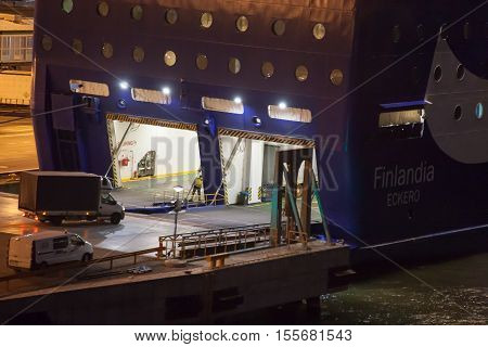 Helsinki, Finland - October 25 :the Ferry Boat Finlandia Is Moored At The Mooring In Port Of The Cit