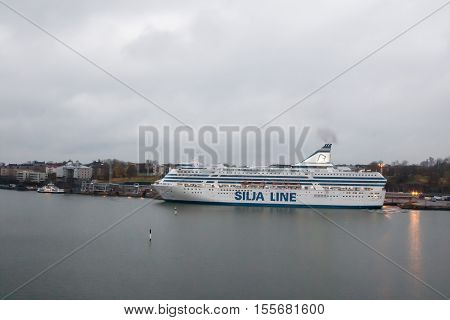 Helsinki, Finland - October 25 :the Ferry Boat Silja Line Is Moored At The Mooring In Port Of The Ci