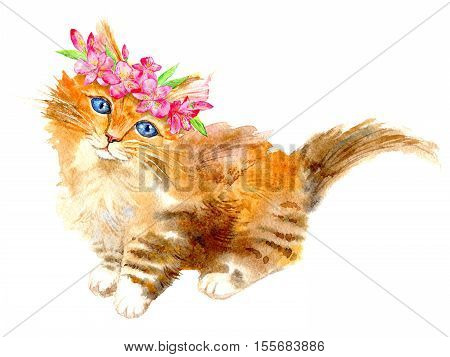 Ginger kitty with a flower wreath.Watercolor hand drawn illustration.Postcard with cat on a white background.