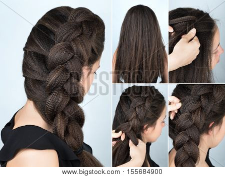hairstyle volume braid to one side tutorial. Hairstyle for long hair. Hairstyle tutorial. Hairstyle for rippled hair
