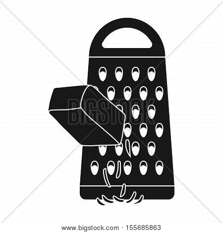 Grating cheese icon in black style isolated on white background. Pizza and pizzeria symbol vector illustration.