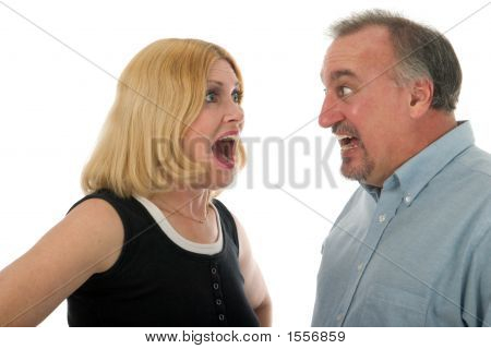 Scared Couple Screaming At Each Other