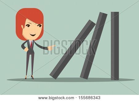 Business woman toppling dominoes . Domino effect. Stock vector illustration