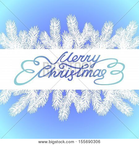 Merry Christmas Greeting Card with hand drawn Lettering and Chrtistmas Tree