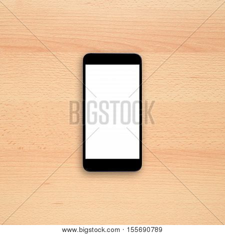 Smartphone with blank screen on office desk. Vertical view