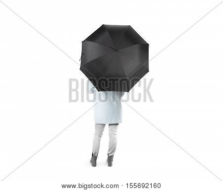 Lady stand backwards with black blank umbrella opened mockup, clipping path. Female person hold clear umbel overhead. Plain surface gamp mockup. Man holding protective accesory gingham cover handle.