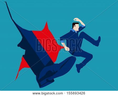 Man Hit By Kick Of Big Foot. Concept Business Illustration. Vector Flat