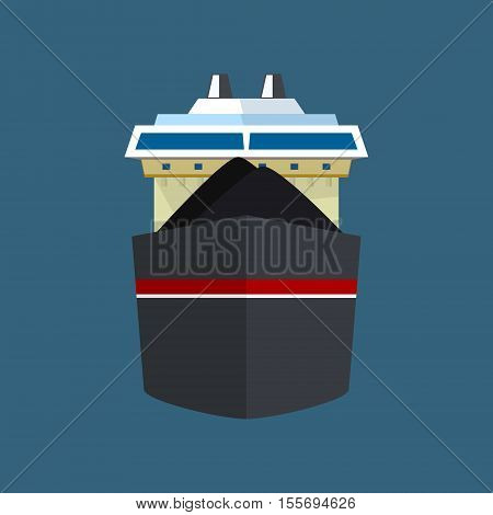 Front View of the Vessel, Dry Cargo Ship, International Freight Transportation, Vessel for the Transportation of Goods, Vector Illustration