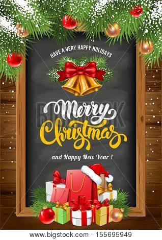 Christmas background with chalkboard in wooden frame with painted holiday typography, decorated Christmas fir tree and holiday gifts. Vector stock illustration.