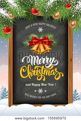 Christmas background with chalkboard in wooden frame with painted holiday typography and decorated Christmas fir tree. Vector stock illustration.