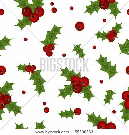 Holly berry natural winter seamless pattern christmas background. Xmas holly berry seamless pattern christmas holiday vector. Traditional red holly berry plant branch pattern retro wallpaper.