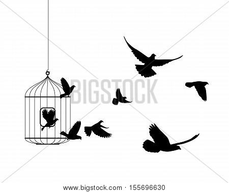 Liberation vector symbol. Birds flying out of cage