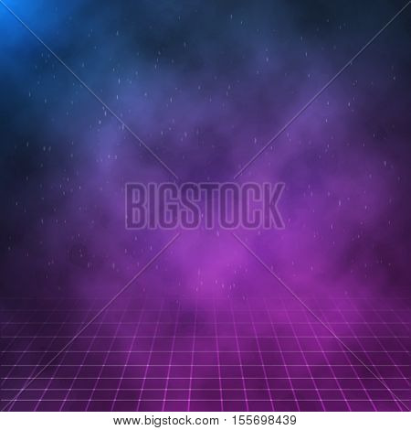 Illustration of Vector Clouds on Night Background. 1980s Retro Neon Poster. Outer Space Background