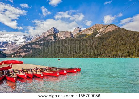 Lake Louise on a beautiful sunny day. Banff National Park, Rocky Mountains, Canada