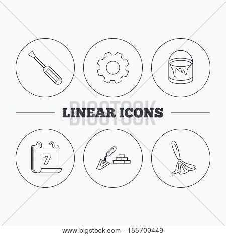 Spatula, screwdriver and paint brush icons. Brush linear sign. Flat cogwheel and calendar symbols. Linear icons in circle buttons. Vector