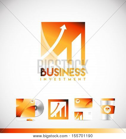 Business investment growth concept stock market vector logo icon sign design template corporate identity