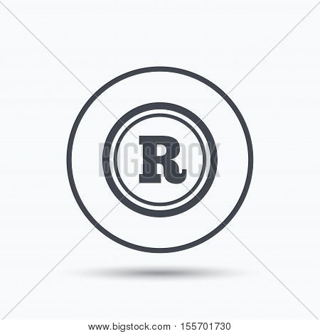 Registered trademark icon. Intellectual work protection symbol. Circle button with flat web icon on white background. Vector