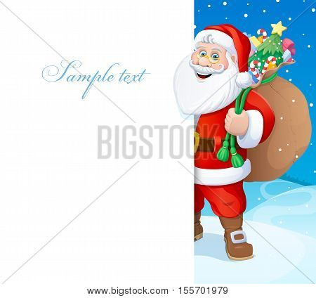 Christmas. Santa Claus with a bag of gifts. Vector illustration. Poster.